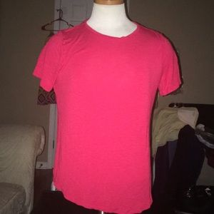 Red Short Sleeve Hi Lo Blouse